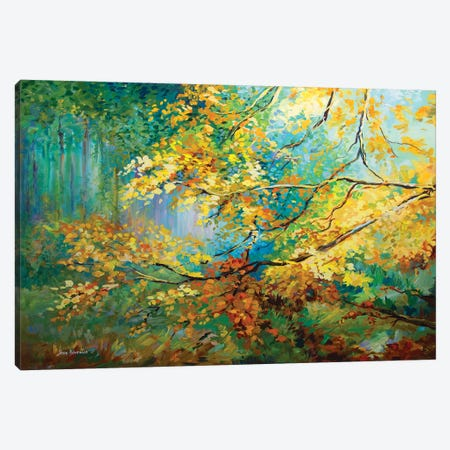 The Golden Leaves Canvas Print #DVI90} by Leon Devenice Canvas Wall Art