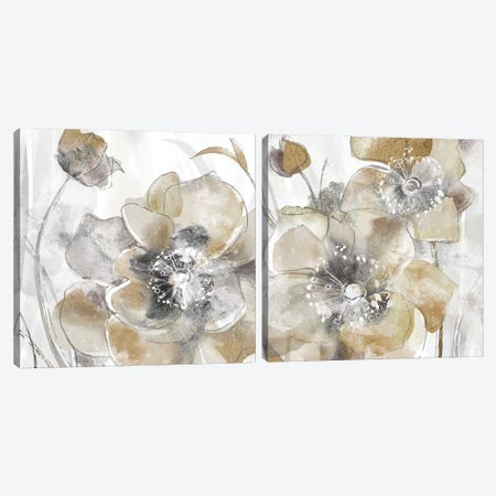 Taupe Spring Poppy Diptych Canvas Print Set #DVN2HSET001} by Maria Donovan Canvas Art