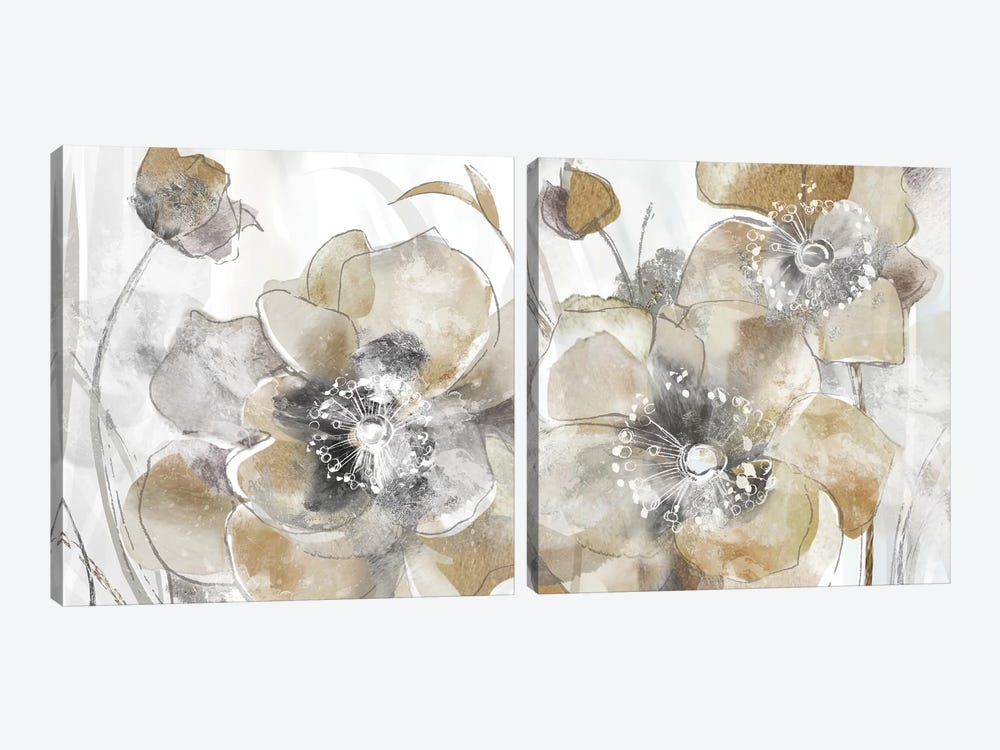 Taupe Spring Poppy Diptych by Maria Donovan 2-piece Canvas Art