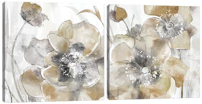 Taupe Spring Poppy Diptych Canvas Art Print
