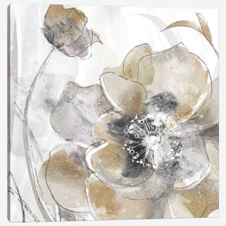 Taupe Spring Poppy I Canvas Print #DVN6} by Maria Donovan Canvas Art Print