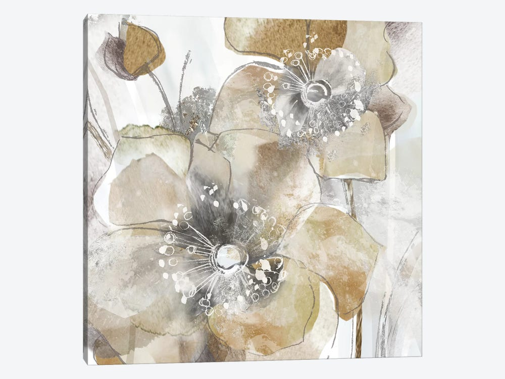 Taupe Spring Poppy II by Maria Donovan 1-piece Canvas Art Print