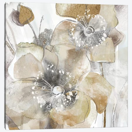 Taupe Spring Poppy II 3-Piece Canvas #DVN7} by Maria Donovan Art Print