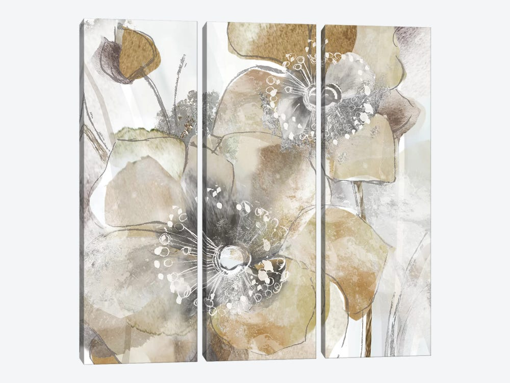 Taupe Spring Poppy II by Maria Donovan 3-piece Canvas Art Print