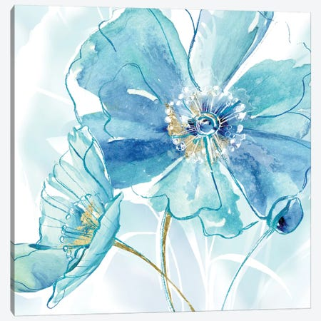Blue Spring Poppy I Canvas Print #DVN8} by Maria Donovan Canvas Art