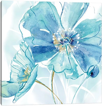 Blue Spring Poppy I Canvas Art Print