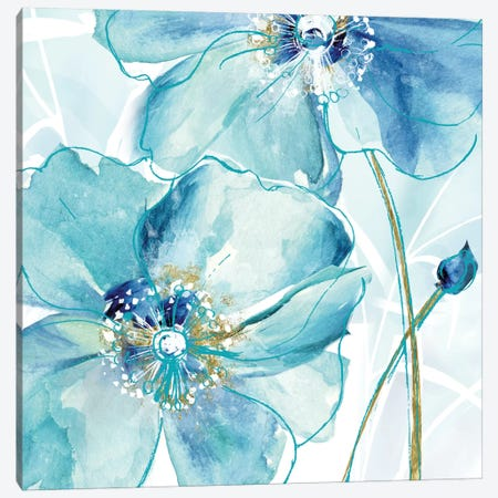 Blue Spring Poppy II Canvas Print #DVN9} by Maria Donovan Canvas Artwork