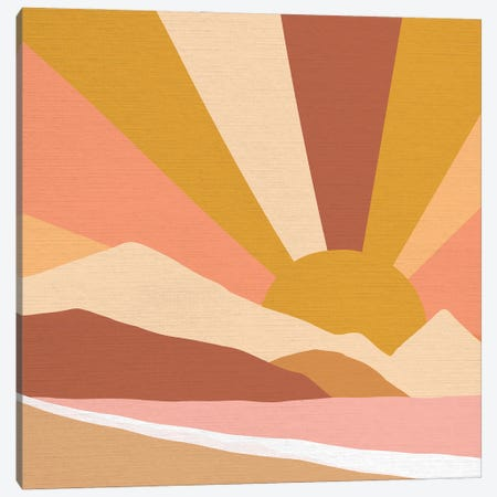 Retro Rainbow Landscape Square Canvas Print #DVR107} by Dominique Vari Art Print