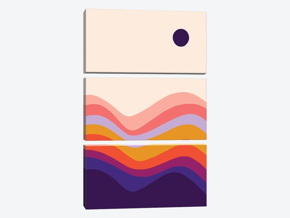 Retro Waves I by Dominique Vari 3-piece Canvas Wall Art