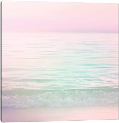 Dreamy Pastel Seascape I Pink Square Canvas Art Print