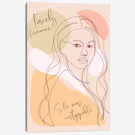 Woman Portrait Card Fierce Canvas Print #DVR133} by Dominique Vari Canvas Print