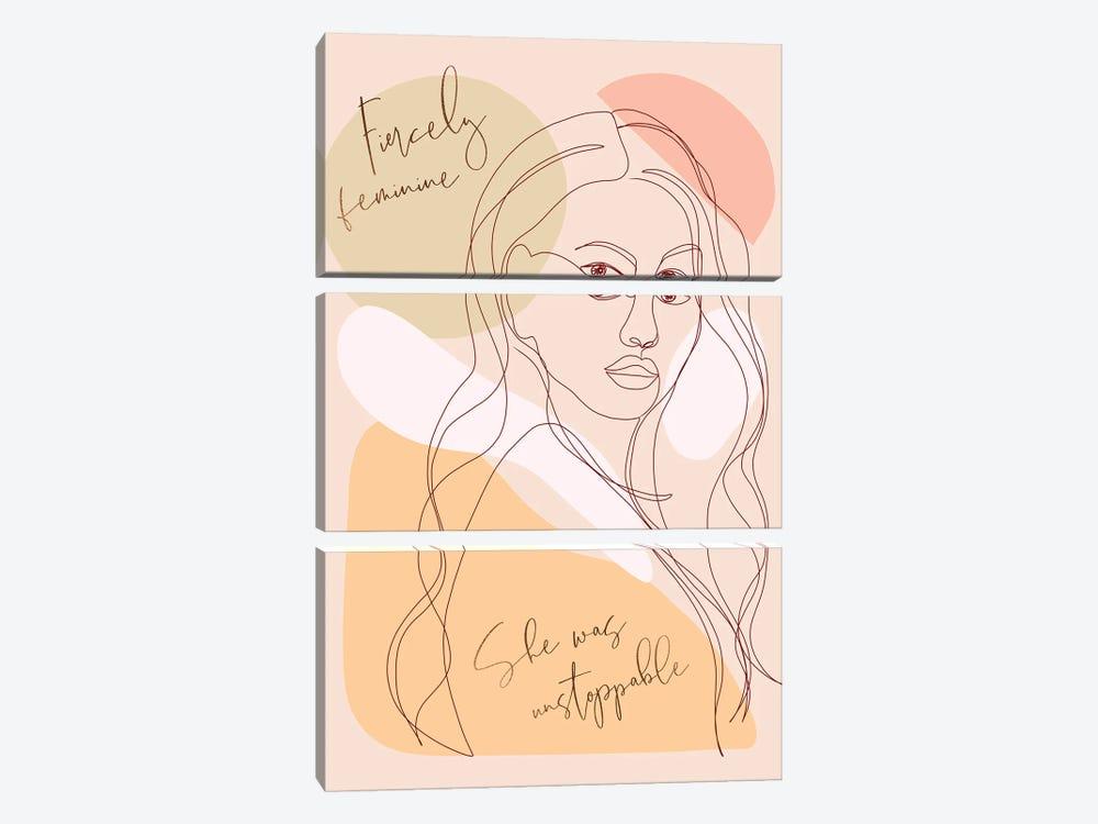Woman Portrait Card Fierce by Dominique Vari 3-piece Canvas Print