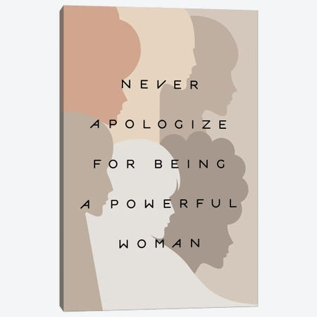 Girl Power Never Apologize Pastel Canvas Print #DVR24} by Dominique Vari Art Print