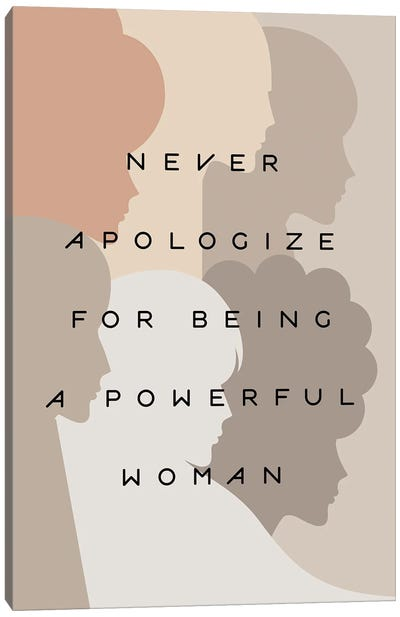 Girl Power Never Apologize Pastel Canvas Art Print