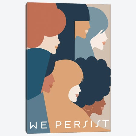 Girl Power We Persist Earthy & Blue Canvas Print #DVR25} by Dominique Vari Canvas Print
