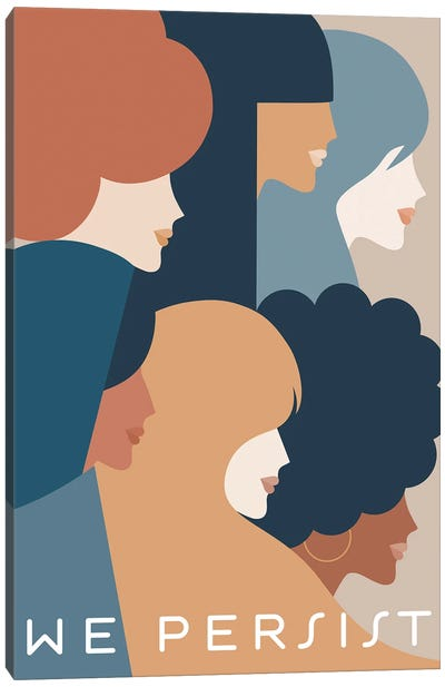 Girl Power We Persist Earthy & Blue Canvas Art Print