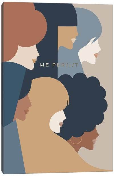 Girl Power We Persist Earthy Stationery Canvas Art Print