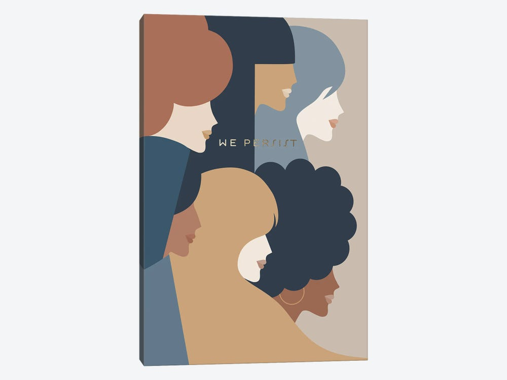 Girl Power We Persist Earthy Stationery by Dominique Vari 1-piece Canvas Art Print