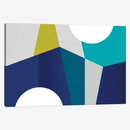 MCM Geometry Blue II Canvas Print #DVR55} by Dominique Vari Canvas Art