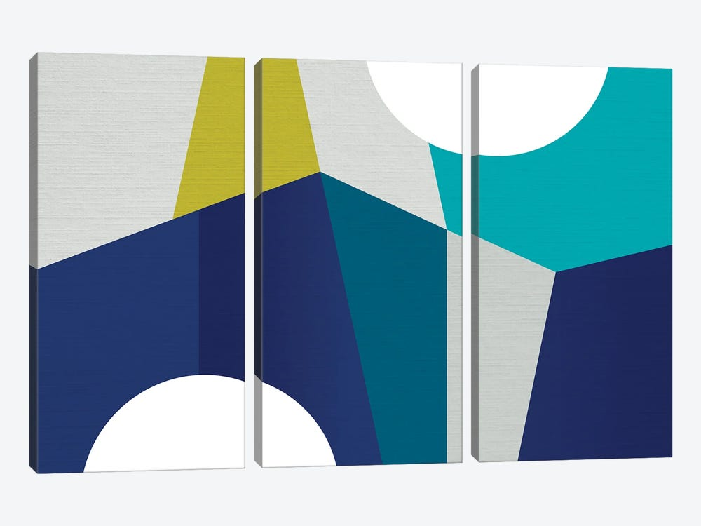 MCM Geometry Blue II by Dominique Vari 3-piece Canvas Print