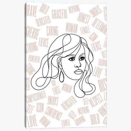Michelle Portrait Black & White You First Canvas Print #DVR56} by Dominique Vari Canvas Artwork