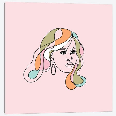 Michelle Portrait You First Pink & Green Square Canvas Print #DVR59} by Dominique Vari Canvas Print
