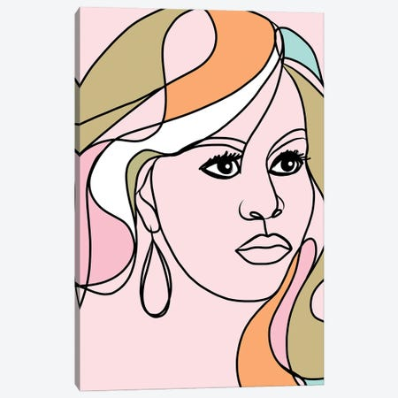 Michelle Portrait You First Pink & Green Canvas Print #DVR60} by Dominique Vari Canvas Wall Art