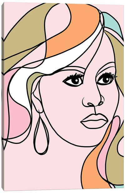 Michelle Portrait You First Pink & Green Canvas Art Print