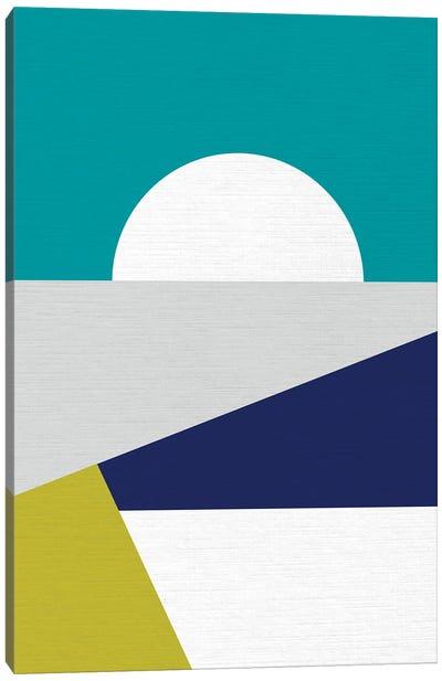 Mid Mod Geo Blue Canvas Art Print