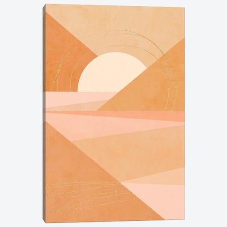 Midmod Geo I Pastel Sunrise & Gold Canvas Print #DVR65} by Dominique Vari Canvas Art Print
