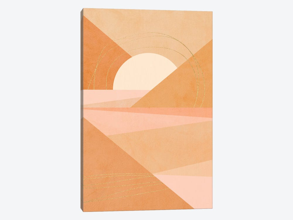 Midmod Geo I Pastel Sunrise & Gold by Dominique Vari 1-piece Canvas Wall Art
