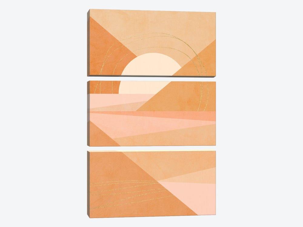 Midmod Geo I Pastel Sunrise & Gold by Dominique Vari 3-piece Canvas Art