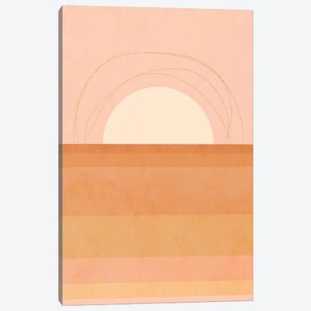 Midmod Geo III Pastel Sunset & Gold Canvas Print #DVR67} by Dominique Vari Art Print