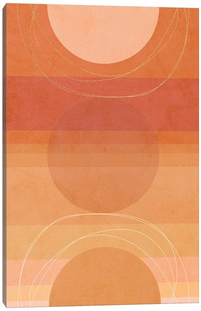 Midmod Geo V Terracotta Moon Canvas Art Print