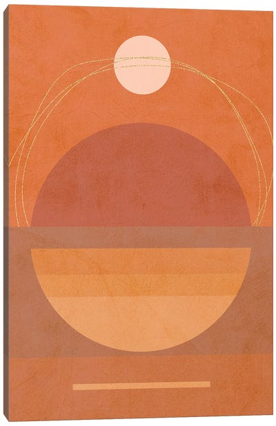 Midmod Geo VI Terracotta Moon & Sun Canvas Art Print