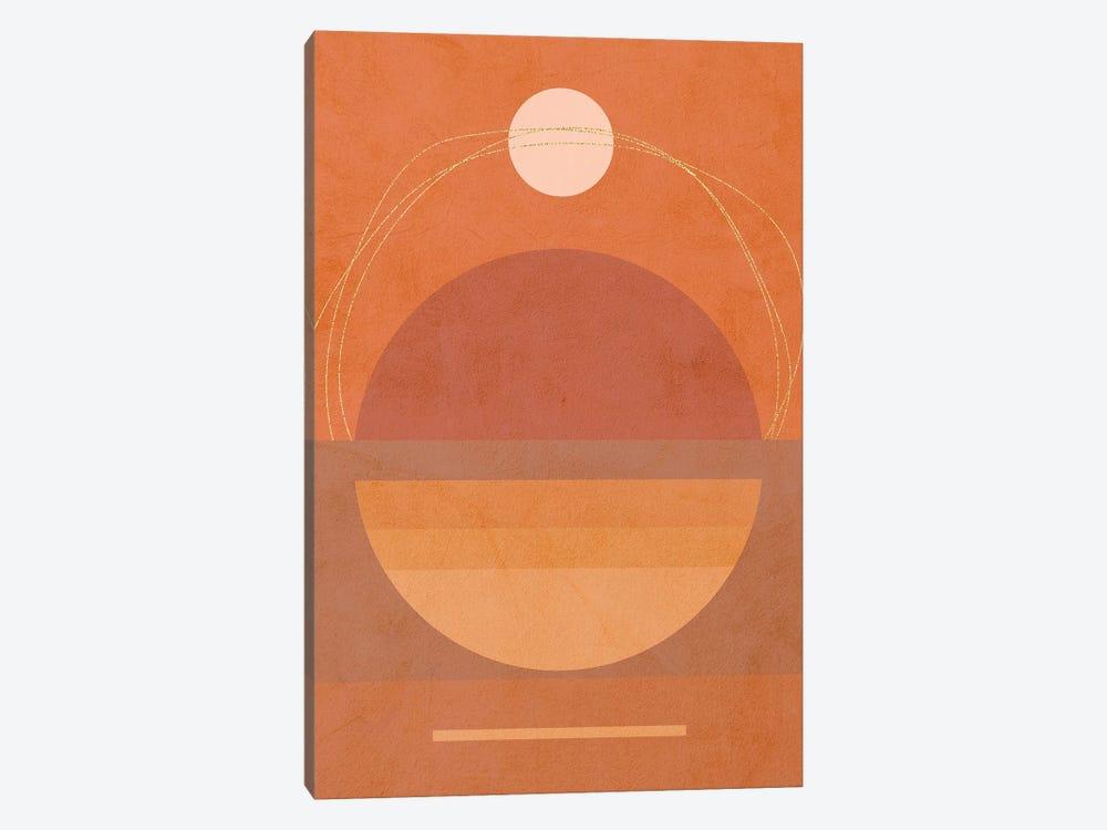 Midmod Geo VI Terracotta Moon & Sun by Dominique Vari 1-piece Canvas Art