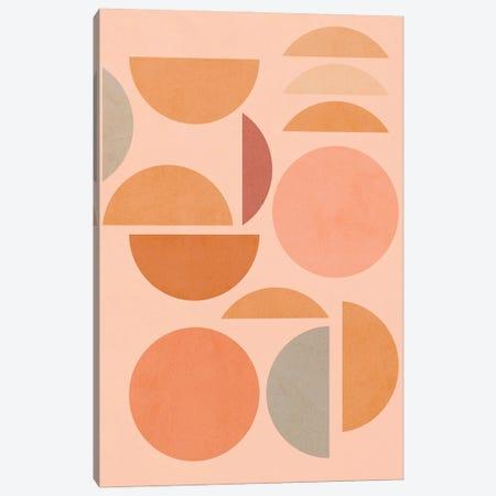 Midmod Geo VIII Peachy Sun & Moon Play Canvas Print #DVR72} by Dominique Vari Canvas Art Print