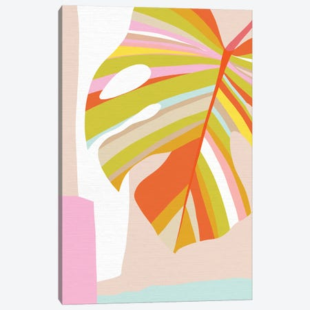 Midmod Monstera Leaf III Colour Canvas Print #DVR75} by Dominique Vari Canvas Wall Art