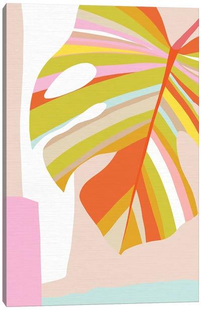 Midmod Monstera Leaf III Colour Canvas Art Print