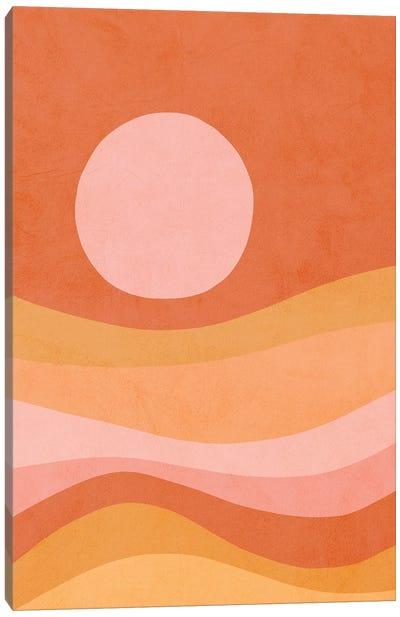 Midmod Peachy Summer Sunset Canvas Art Print
