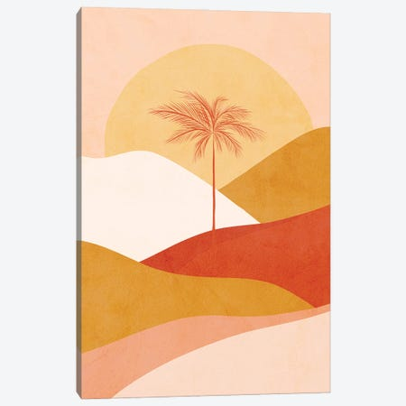 Midmod Tropical Palm Sunset 1 Peach Canvas Print #DVR77} by Dominique Vari Canvas Artwork