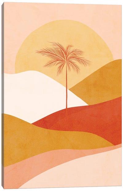 Midmod Tropical Palm Sunset 1 Peach Canvas Art Print