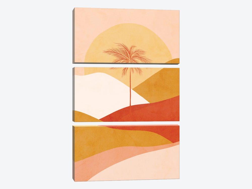 Midmod Tropical Palm Sunset 1 Peach by Dominique Vari 3-piece Canvas Art Print