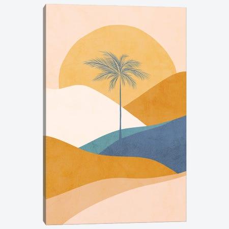 Midmod Tropical Palm Sunset II Blue Canvas Print #DVR78} by Dominique Vari Canvas Art Print