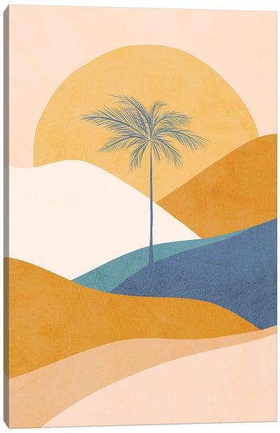 Midmod Tropical Palm Sunset II Blue Canvas Art Print