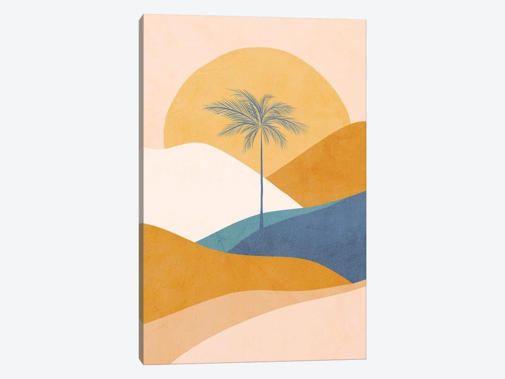 Midmod Tropical Palm Sunset II Blue by Dominique Vari 1-piece Canvas Wall Art