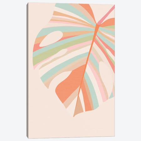 Monstera Leaves Pink Violet Red Canvas Print #DVR87} by Dominique Vari Canvas Print