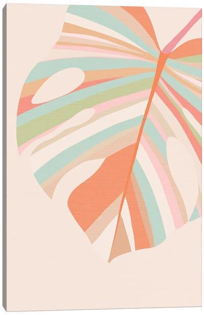 Monstera Leaves Pink Violet Red Canvas Art Print