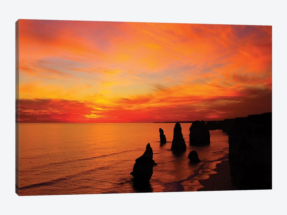 The Twelve Apostles At Sunset I, Port Campbell National Park, Victoria, Australia by David Wall 1-piece Canvas Art Print