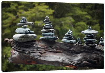 Rock stacks made by tourists by Fantail Falls, Haast Pass, Mt. Aspiring NP, New Zealand Canvas Art Print